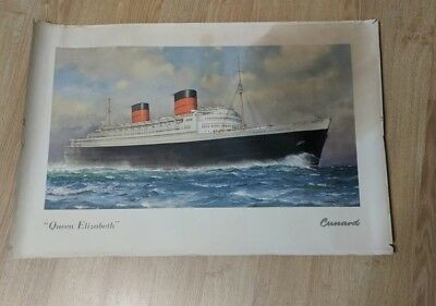 Cunard Steamship Line Lot Of 3 Individual Posters For The Queens