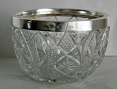 English Edwardian Sterling Silver Brilliant Cut Crystal Bowl Hallmarked 1904
