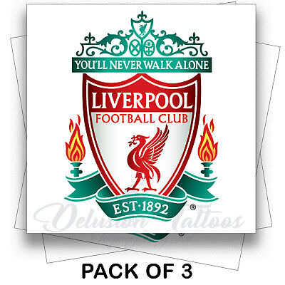 Liverpool FC Badge Temporary Tattoos Pack of 3 Stickers Transfers Waterproof