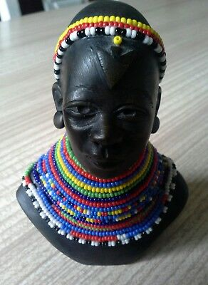 African samburu woman figurine head signed b abukutsa