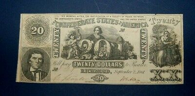 CSA 1861 T-20 Twenty Dollar Note, CR # 141 and Reproduction T-20 Engraving Plate
