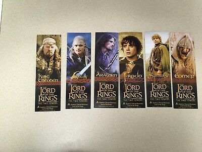 2001 Lord Of The Rings Fellowship Ring Frodo Set 5 Promo 2-Sided Movie Bookmarks
