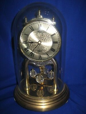 Vintage  Germany Hermle Quartz  Anniversary Clock with Glass Dome