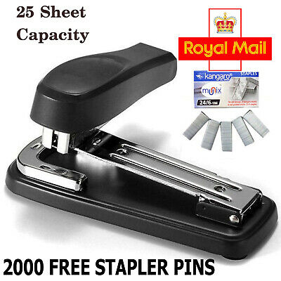 Stapler Full Strip METAL Staple Capacity Document 25 Sheet 24/26-6 Heavy Duty UK