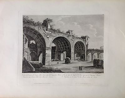 ITALIA, ROMA, Temple of teh peace, Vespasian, grab. original de Parboni,ca. 1830