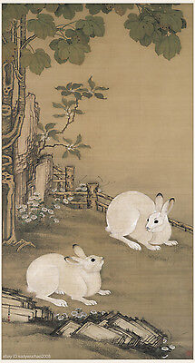 Chinese old scroll painting on silk Two rabbits playing under a parasol tree