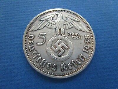 1938 Nazi Germany 5 Mark Look A Like Coin  VF