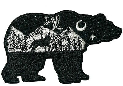 Bear Wolf National Park Patch Iron / Sew-On Embroidered Souvenir Travel Explore