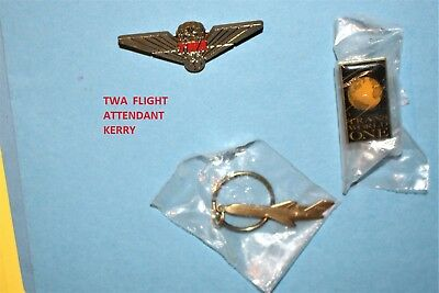 Twa Airlines Metal 727 Airplane Keychain Trans World One Pin Jr Pilot Wings Lot