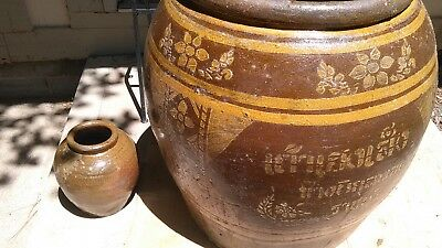 Vintage 20 Gallon Chinese Antique Green Glazed Gray Clay Dragon Design Pottery