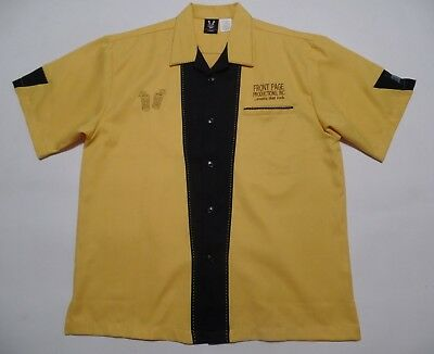 HILTON BOWLING RETRO SHIRT LARGE YELLOW - BLACK button-up