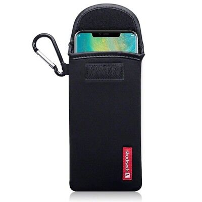 Huawei Mate 20 Pro Shocksock Neoprene Soft Pouch Case with Carabiner in Black