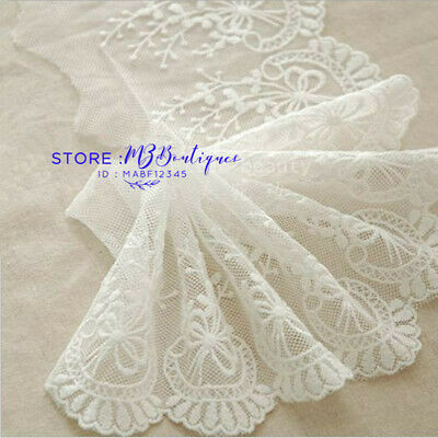 FP44 1yard Delicate white embroidered flower Cotton tulle lace trim Sewing Craft