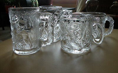 1995 BATMAN FOREVER Batman Robin Two Face Riddler All 4 Glass Mugs McDonalds