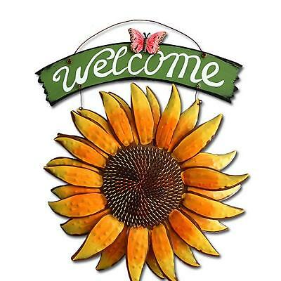 "Metal Vintage Hanging Butterfly SunFlower Welcome Sign Door Decor 15"" x 12"""