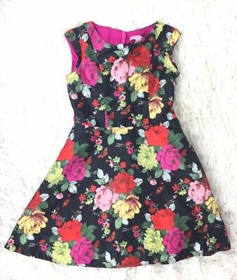 909846b089b11 Baker By Ted Baker Girls Size 10 Black Floral Roses A-line Cap Sleeve Dress