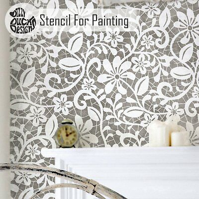 ELIZABETH English Lace Stencil - Furniture Wall Floor Stencil for Painting