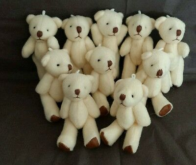 Mini jointed plush teddy Bears/10×cream/handcrafted /approx 6cm/brown pads.