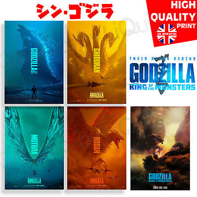 Godzilla King Of The Monsters Movie Monster Character Posters | A4 A3 A2 A1 |