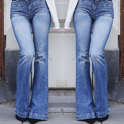 Womens Slim Fit High Waist Flares Bootcut Flared Denim Jeans Long Pants Trousers