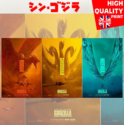 Godzilla King Of The Monsters Set of 3 Movie Film Poster Print | A4 A3 A2 A1 |