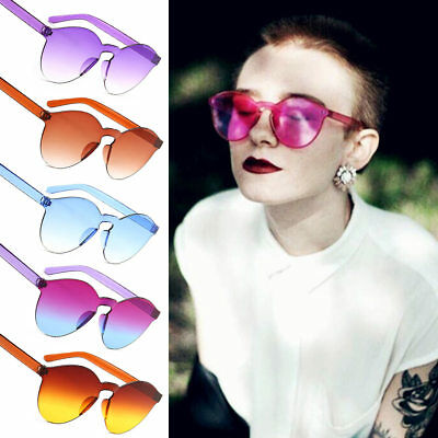 Candy Color Sunglasses Cat Eye Transparent Women Men Clear Frameless Sun Glasses