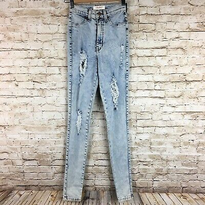 Vibrant Miu acid wash distressed skinny denim jeans high waist Junior sz 1