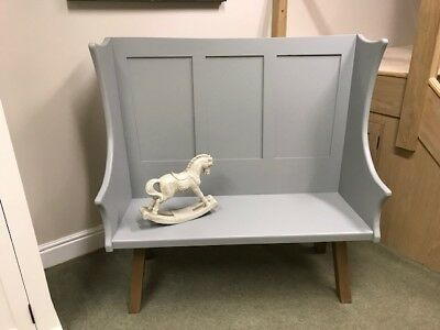 Handcrafted Bespoke Design Painted Bench Settle with Panelled Back and Oak Legs