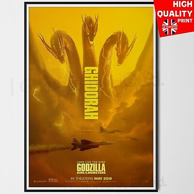 Godzilla King Of The Monsters Movie 2019 King Ghidora Poster | A4 A3 A2 A1 |