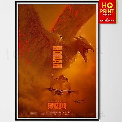 Godzilla King Of The Monsters Movie Rodan Character Poster | A4 A3 A2 A1 |