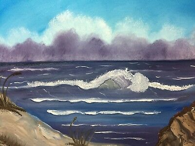 Bob Ross Style Oil Painting On Canvas Blue Ocean By Diana 3036