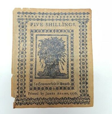1776 Delaware James Adam 5 five shillings Colonial Currency- reproduction!