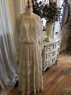 Antique 2 Piece Cream SILK Wedding~Garden  Dress Ercu Brussels Lace Inset 1890's