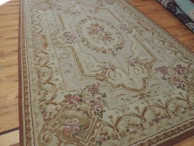 Striking 6x9 French Aubusson Style Area Rug Beige Brown wool