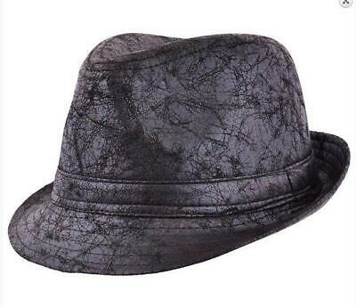 Cracked Leather Retro Look Trilby Hat - Ska Specials Madness Beat Bosstones