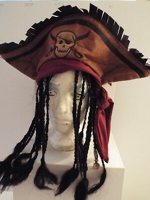 Halloween Costume Pirate Hat w/ Braids-Dreadlocks-Beads-Adult-Fringe-Brown-Scarf