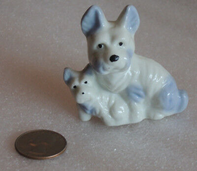 Vintage West Highland Terrier Dog with Puppy KNICK-KNACK 1950s 1960s JAPAN, 2.5""