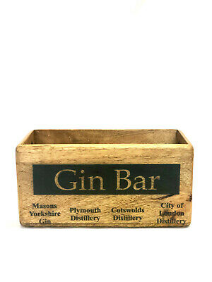Vintage Style GIN BAR Wooden Crate With Rope Handles Decorative