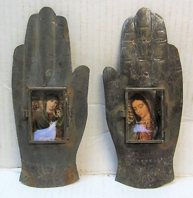 MEXICAN FOLK ART TIN NICHO PAIR of HANDS w/ PAPER PICTURES
