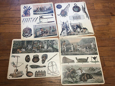 Vtg 1930 Comptons Teaching Aid American Indian Plates Picture Chromolithographs