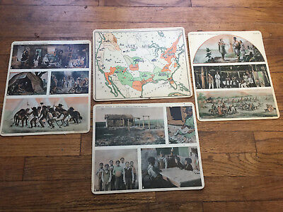 Vtg 1930 Comptons Teaching Aid American Indian Plates Picture Prints set 4