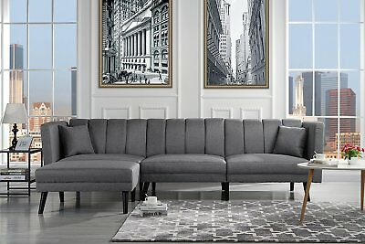 Mid Century Linen Futon Sofa Bed Modern Sectional Couch, Reversible, Light  Grey
