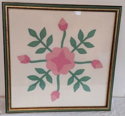 """Gorgeous Antique Framed Applique Pink & Green Quilt Square 18"""" by 18"""""""