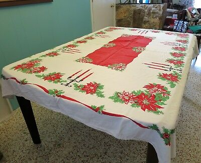 "Vintage Christmas Tablecloth With Poinsettias & more 71"" x 58"""