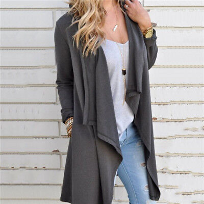 Spring Womens Ladies Trench Long Jacket Coat Irregular Cardigan Casual Outwear