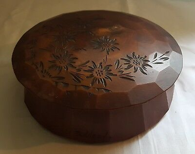 Turned rosewood wood vintage Victorian antique round box