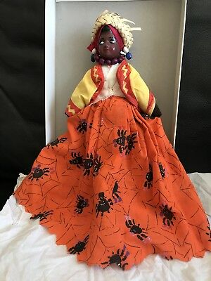 Vintage Black Caribbean Doll Rag Body Porcelain Head West Indian Doll With Stand