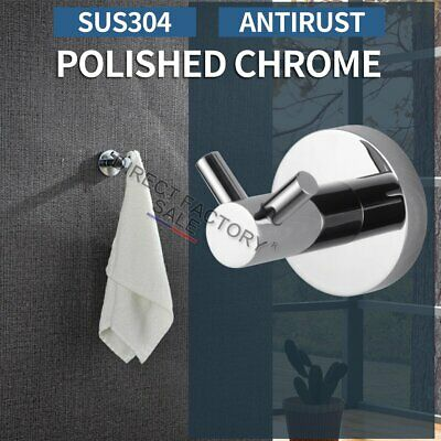 Chrome Double Robe Hook Hanger Towel Clothes Holder SUS304 Round Wall Mounted