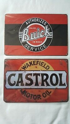 2 Lot Tin Sign Castrol Wakefield Motor Oil & Buick Valve In Head Garage Signs