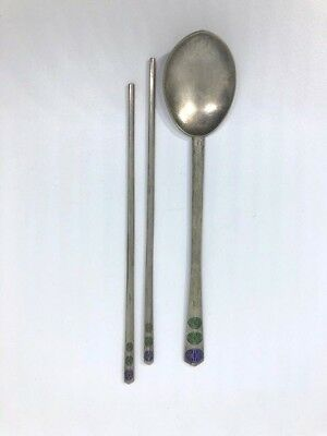 Antique Chinese Silver Chopsticks and Silver Spoon